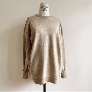 Genuine People Tan Oversized Crew Neck Sweater